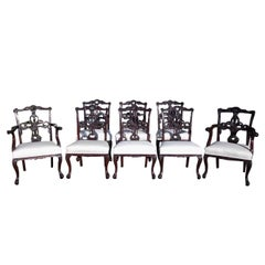 Set of Eight English Chippendale Mahogany Dining Room Chairs, Circa 1760