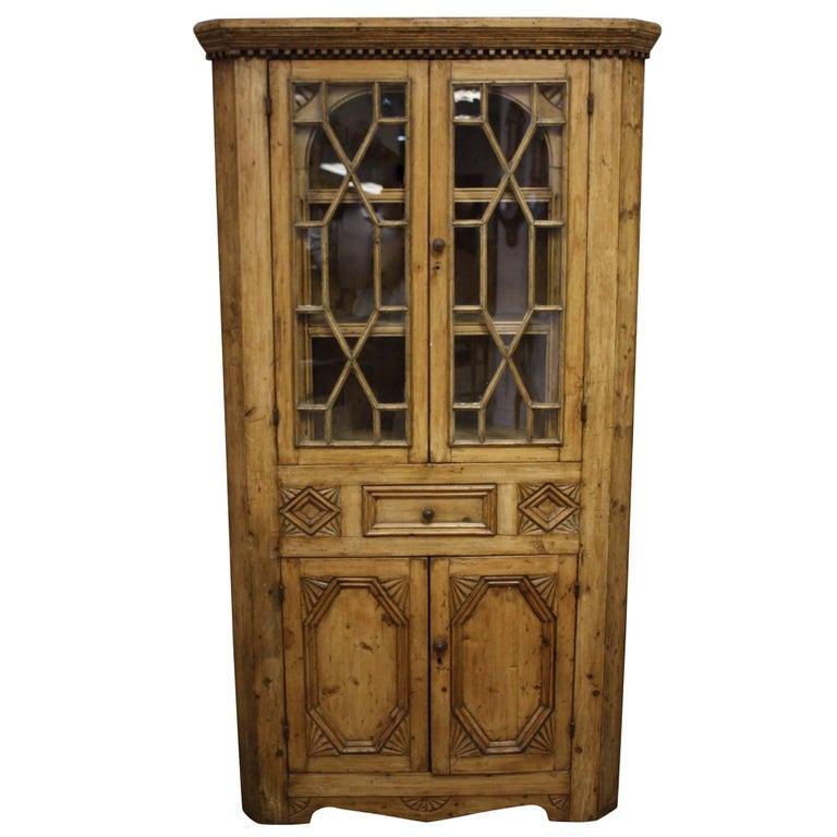 19th Century Pine Corner Cabinet