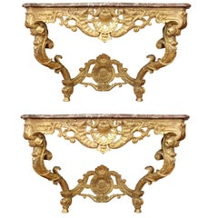 Pair of 19th Century French Rococo Style Consoles