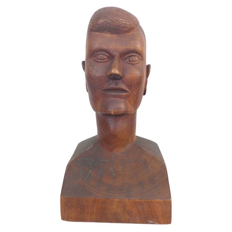 Folk Art Carved Wood Head
