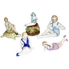 Italian 1930 Art Deco Ceramic Female Figurines in Colored Stripes Bathing Suit