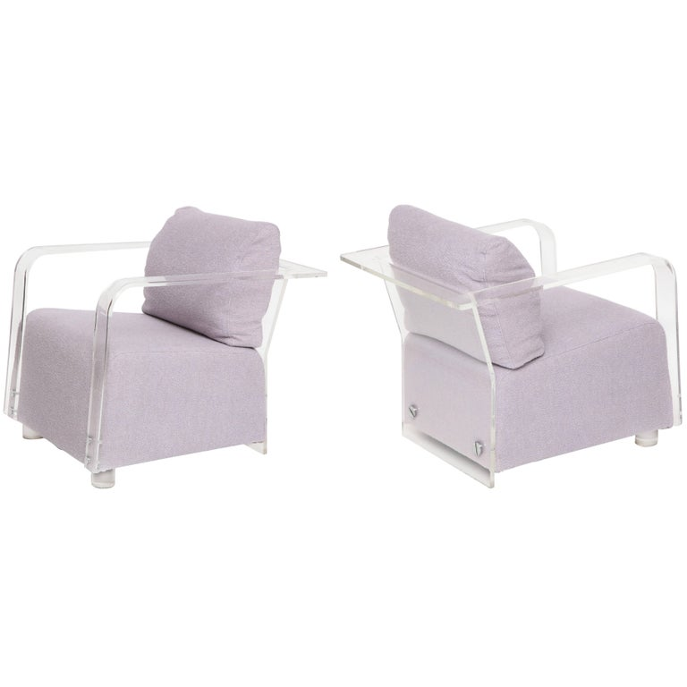 Sculptural Lucite Lavender Boucle Pair of Lounge Chairs Chrome Detail, France