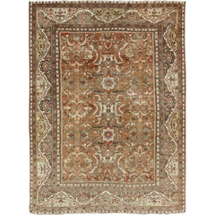 Large Antique Persian Mahal Rug with Floral Design in Muted Tones