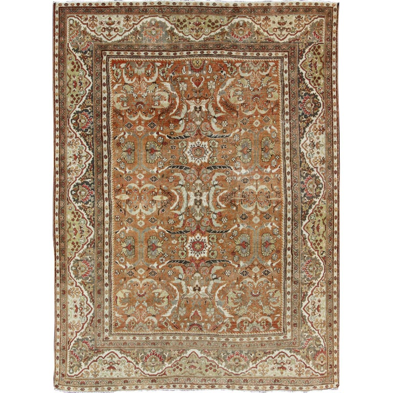 Large Antique Persian Mahal Rug With Floral Design In