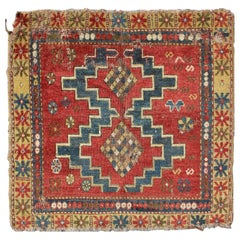 Square-Shaped Antique Caucasian Rug with Dual Medallions and Tribal Motifs