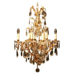 French Gilded and Crystal Nine-Light Birdcage Antique Chandelier
