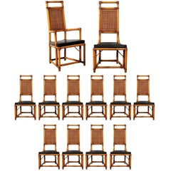 Elegant Restored Set of Twelve Throne Dining Chairs by Willow and Reed