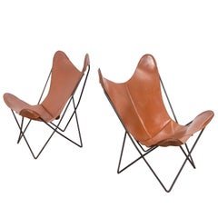 Pair of Tabacco Brown Hardoy Butterfly BKF Chairs for Knoll