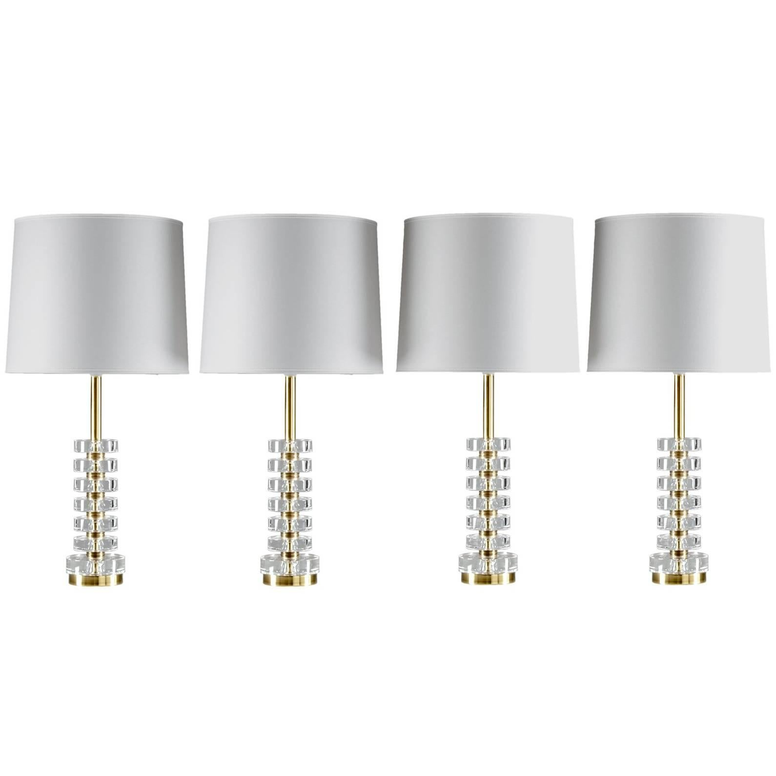 Swedish Crystal Glass Table Lamps by Carl Fagerlund for Orrefors