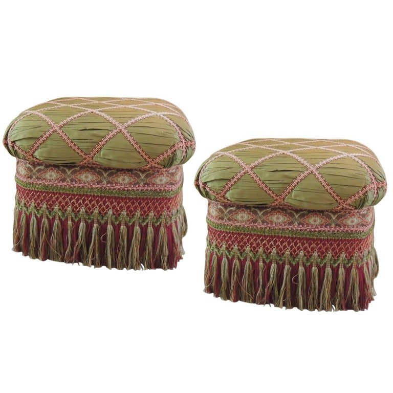 Pair Of Vintage Fringe Ottomans With Long Tassels And