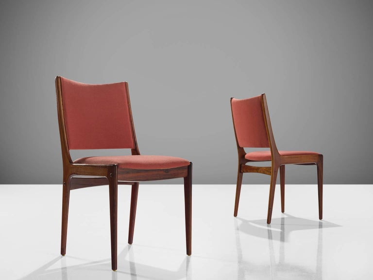 Swedish Danish High Back Rosewood Dining Chairs, 1960s For Sale
