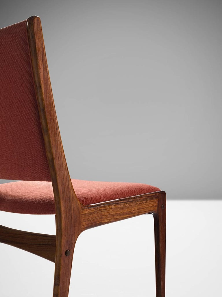 Fabric Danish High Back Rosewood Dining Chairs, 1960s For Sale