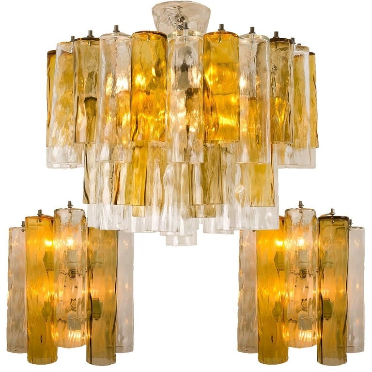 Set of Extra Large Barovier Toso Light Fixtures, Two Wall Lights, One Chandelier For Sale at 1stdibs