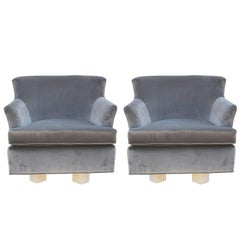 Pair of Modern Grey Velvet Swivel Lounge Chairs with Bleached Wood Base
