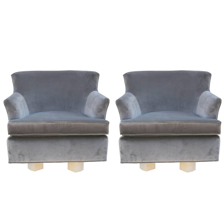Remarkable Pair Of Modern Grey Velvet Swivel Lounge Chairs With Bleached Wood Base Onthecornerstone Fun Painted Chair Ideas Images Onthecornerstoneorg