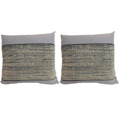 Pair of Vintage Ikat Blue and Natural Decorative Pillows