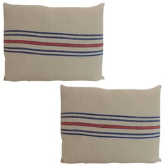 Vintage French Red and Blue Stripe Linen Decorative Pillows
