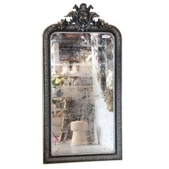 19th Century Black and Gilt Louis Philippe Mirror with Pomegranate Decoration