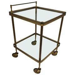 Italian Mid-Century Modern Square Brass Bar Cart