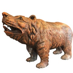 Japanese Huge Old Hand-Carved Wooden Bear, Ainu People