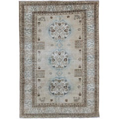 Antique Persian Tabriz Rug with Three Medallions in Muted Earth Tones and Blue
