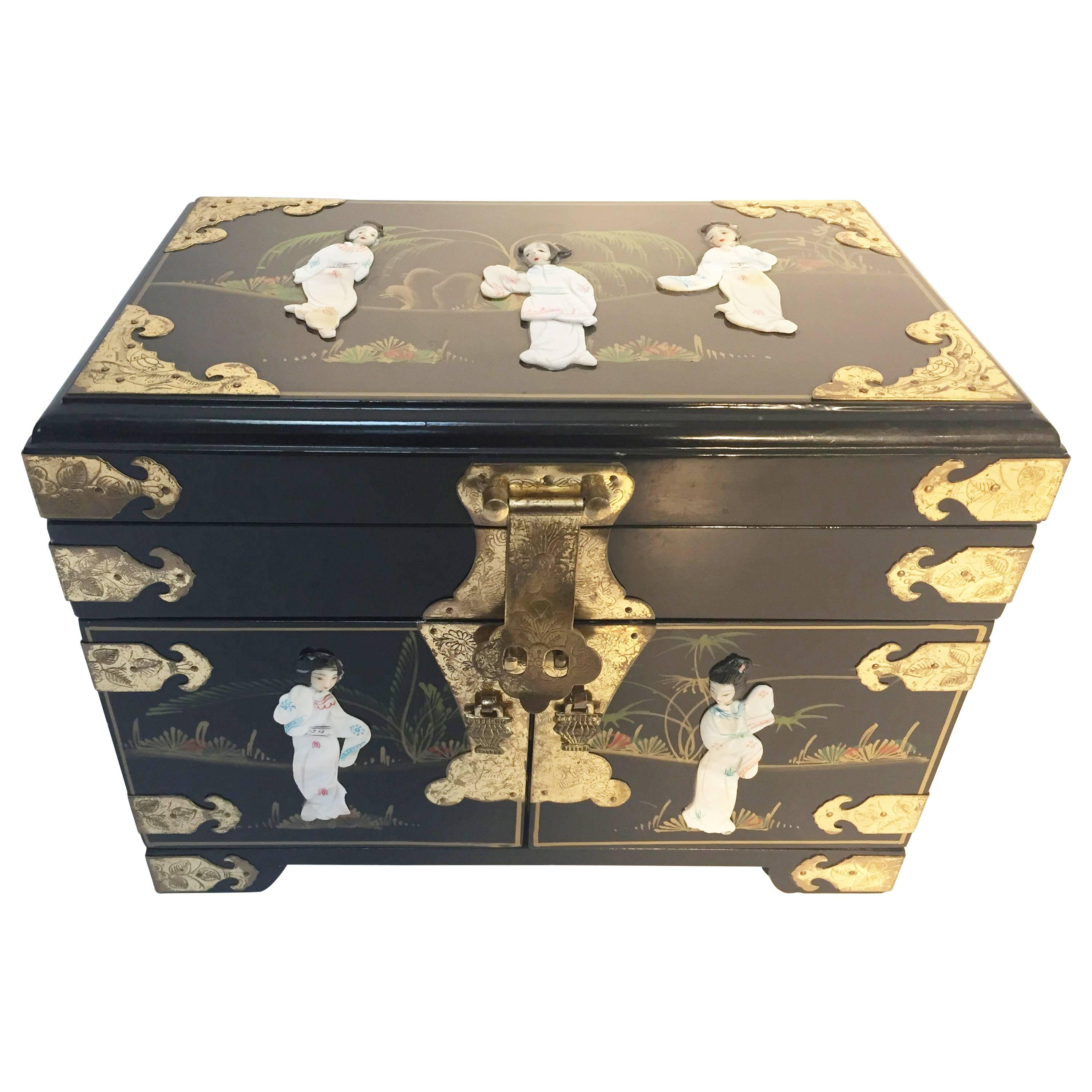 Black Lacquered Chinese Jewelry Box with MotherofPearl Overlay For