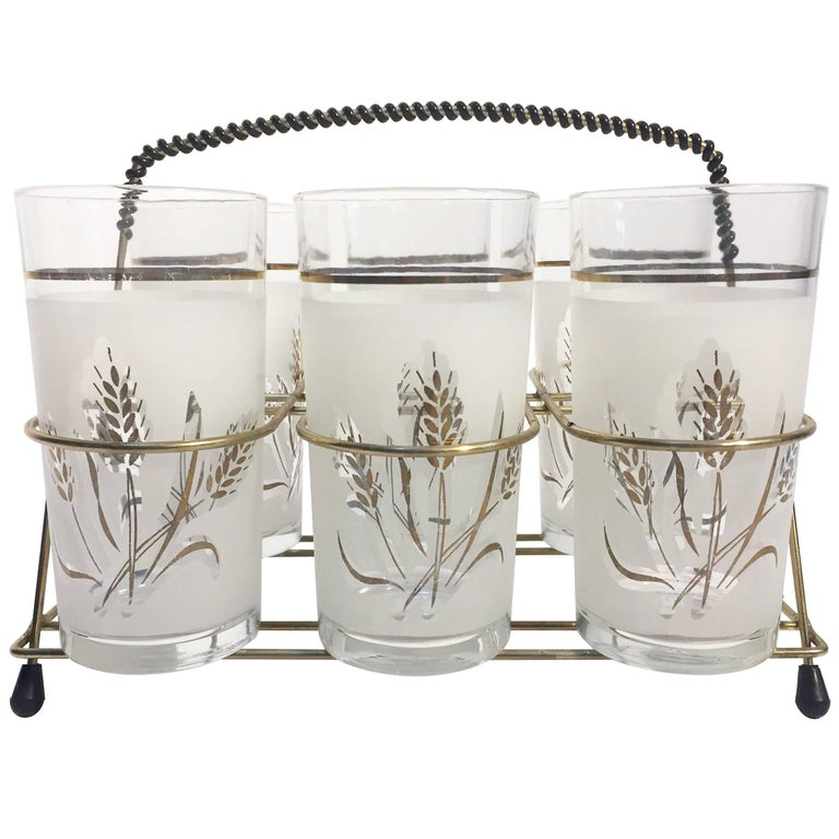 Set of Six Vintage Drinking Glasses in Brass Cart by Covetro, Made in Italy For Sale