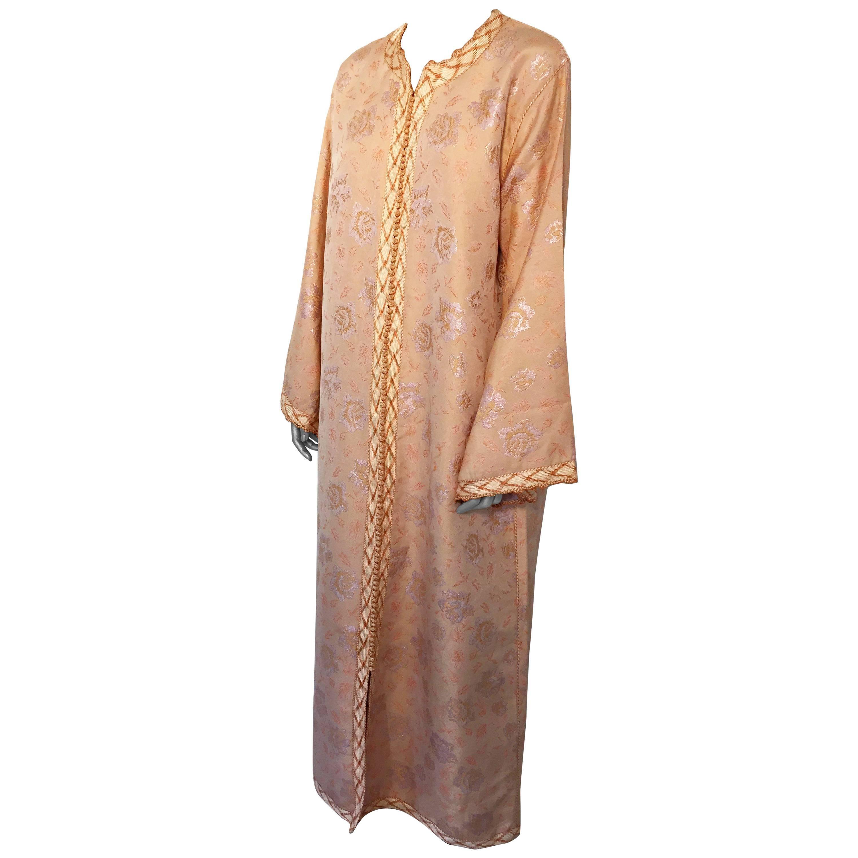 Vintage Moroccan Brocade Designer Caftan Maxi Dress Gown Kaftan Size L