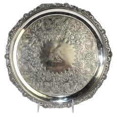 Antique Crested Scottish Sterling Silver Salver or Tray by George McHattie