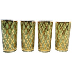 Set of Four Midcentury Green and Gold Vintage Culver Glasses, circa 1960