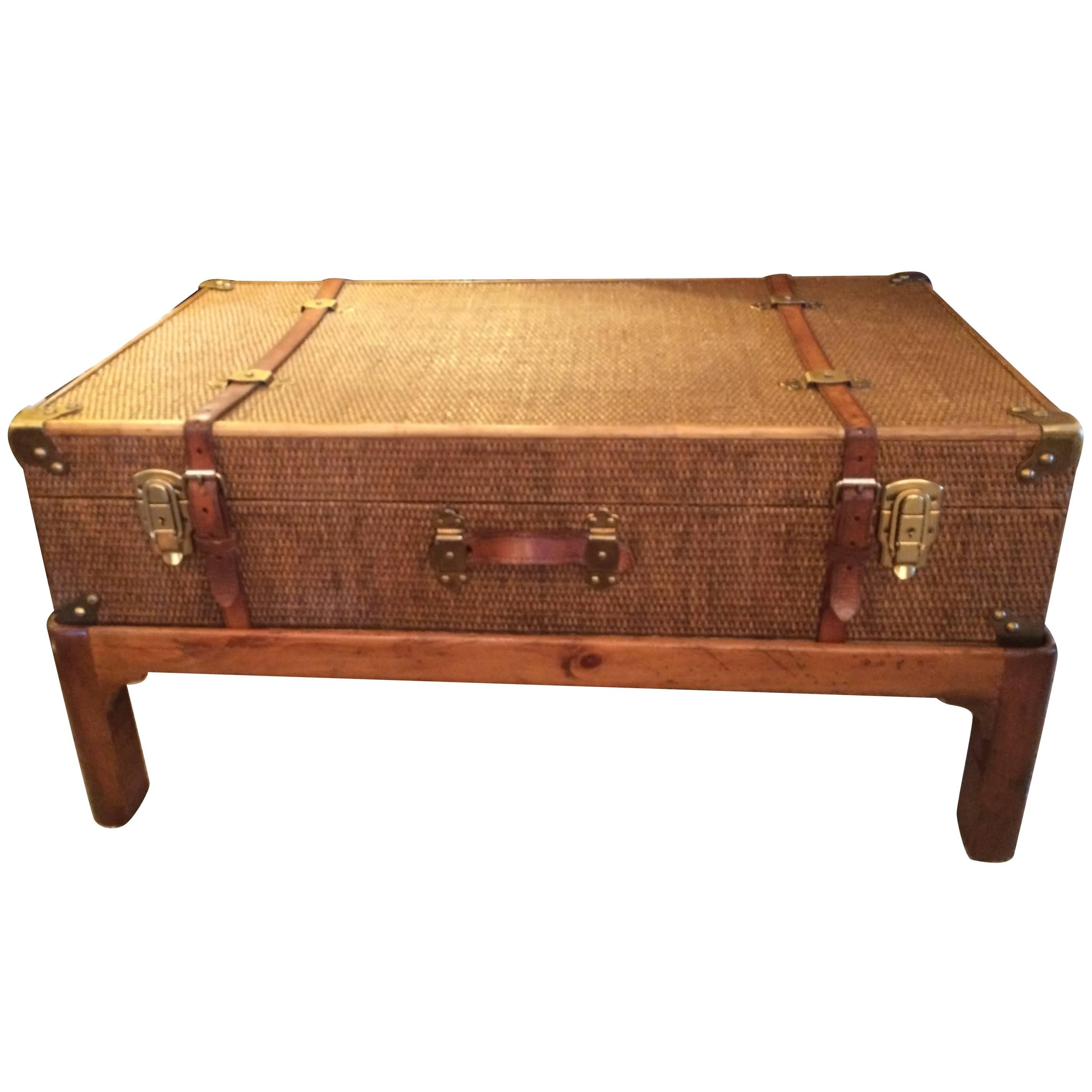 Exceptionnel One Of A Kind Vintage Rattan Suitcase Coffee Table On Custom Wooden Base  For Sale