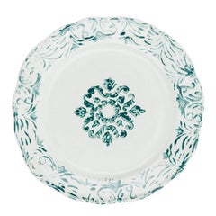 Hand Printed Green and White Floral Dinner Plates, Set of Four