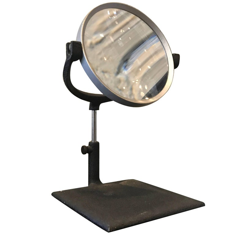 Industrial Mid Century Tabletop Magnifying Glass For Sale