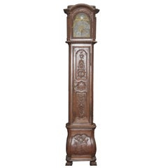 Tall Antique 18th Century Case Clock, French, Louis XV  Fine Carved Oak