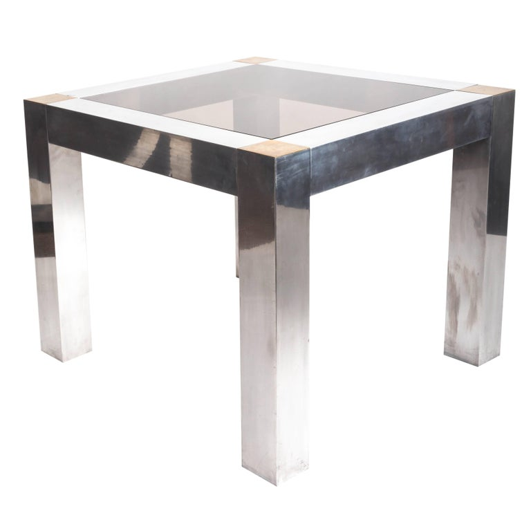 Paul Evans style Aluminum and Brass Parsons Table 1
