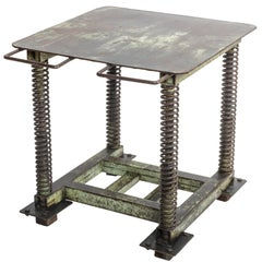 Green Patinated Steel Industrial Table