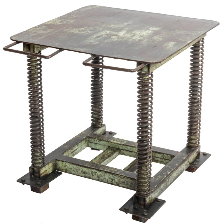 Green Patinated Steel Industrial Table For Sale