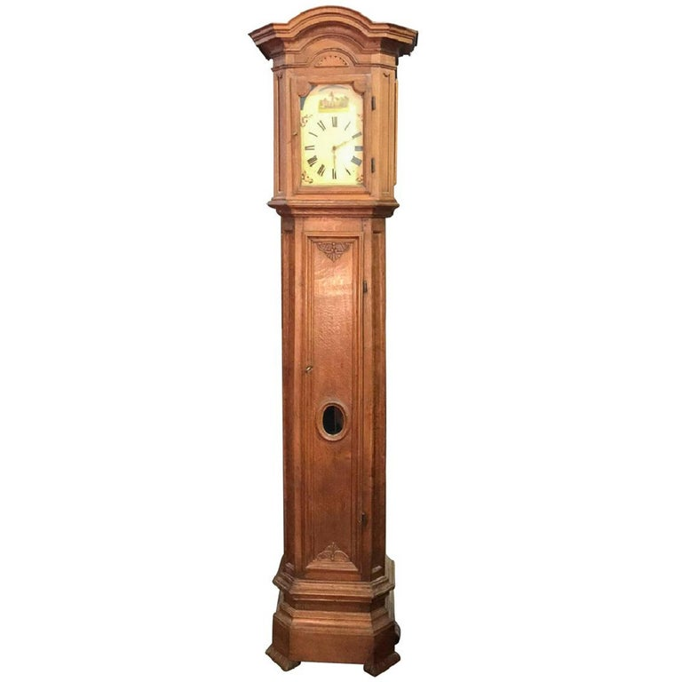 French Oak Long Case Clock with Original Painted Wood Dial, 18th Century