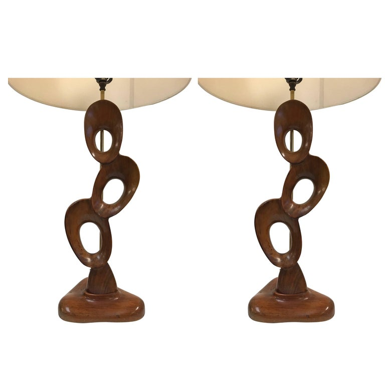 Pair of Mid-Century Modern Sculptural Walnut Lamps