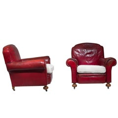 Pair of English Club Armchairs