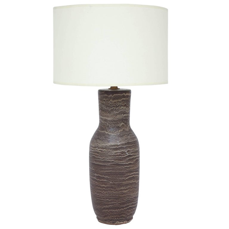Brown Pottery Table Lamp by Lee Rosen for Design Technics