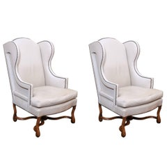 Pair of Mouton Wing Chairs in Off-White Leather