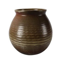 Mid-Century Modern Hand Thrown Studio Pottery Bulbous Vase