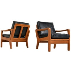 Juul Kristensen Convertible Danish Solid Teak Black Leather Lounge Chairs, 1960s