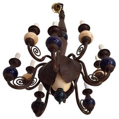 Italian Rustic Chandelier Wrought Iron Flower Bulb with Ostrich Eggshell