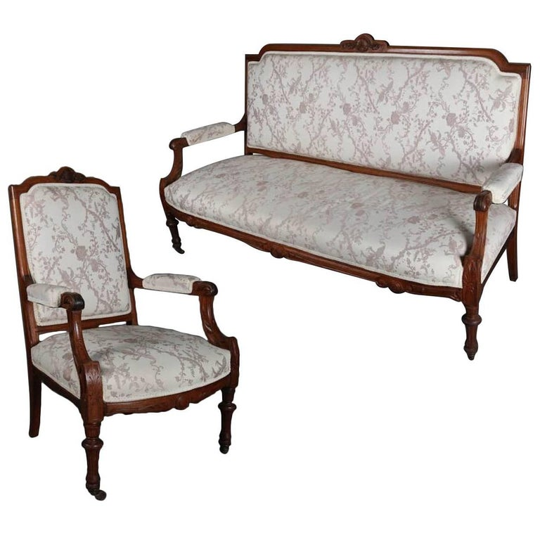Antique french louis xvi carved walnut upholstered sofa for Upholstered living room chairs sale