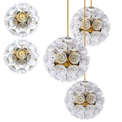 Set of Five Starburst Flower Sputniks, Two Wall Lights & Three Pendant Lights