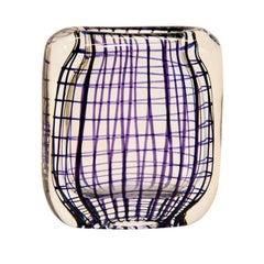Glass Vase with Purple Decor by Hermann Bongaard for Hadeland Glassverk, Norway