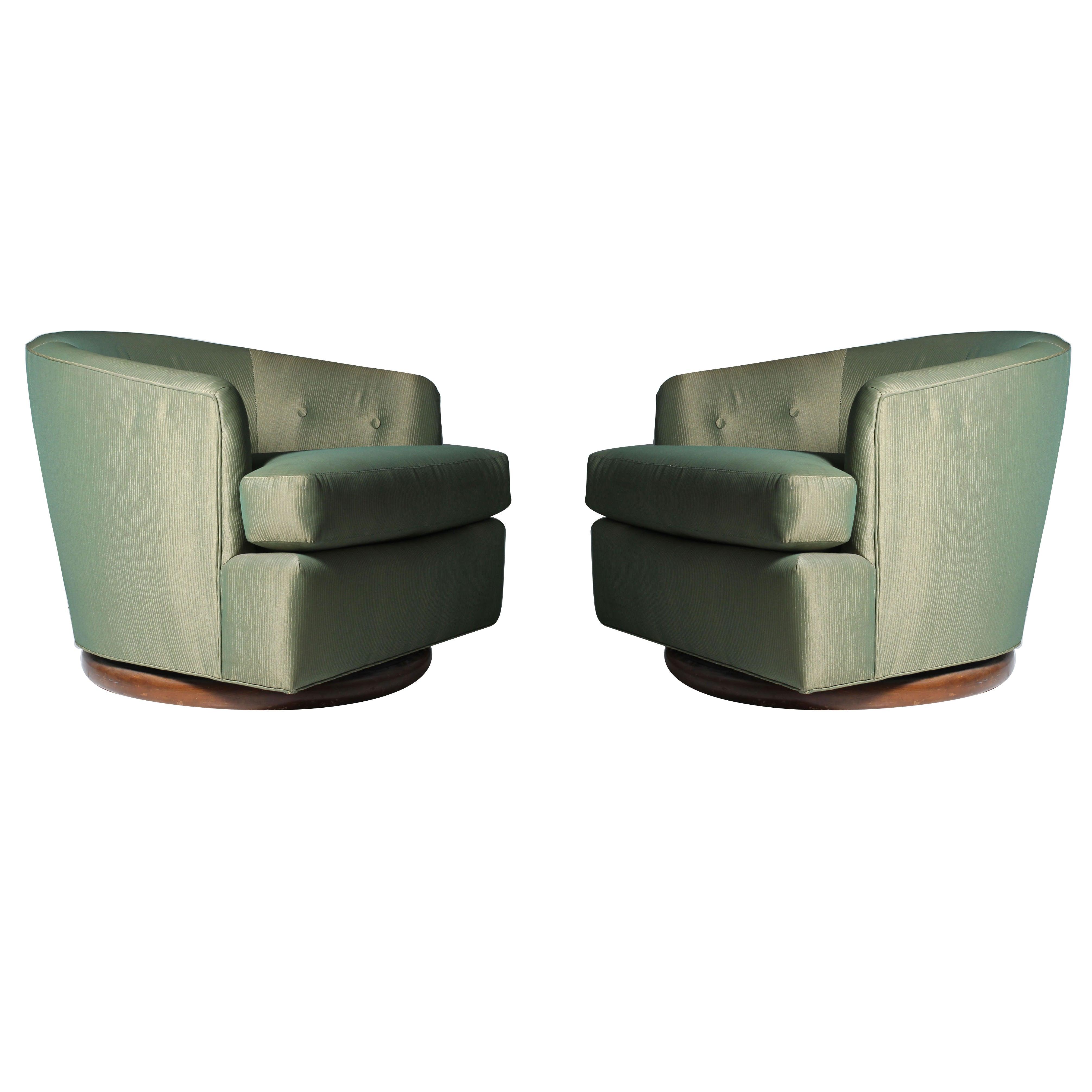 Milo Baughman Attributed Gliding / Swivel Barrel Back Club Chairs
