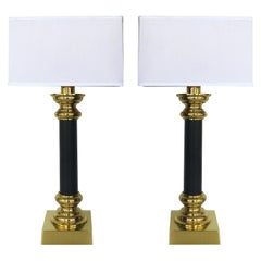 Fine Quality Pair of Stiffel Brass and Leather Classical Column Table Lamps